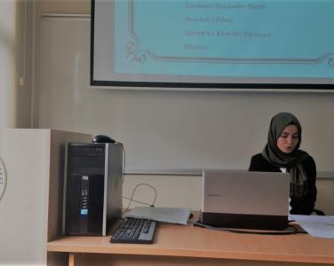 "Department of Turkish Language and Literature researcher assistant Seda AYDIN presented in a paper titled ""Translation and Commentary of Makâmât-ı Harîrî by Manastırlı Dâniş Ahmed Efendi"" at VI. International Yildiz Social Sciences Congress."